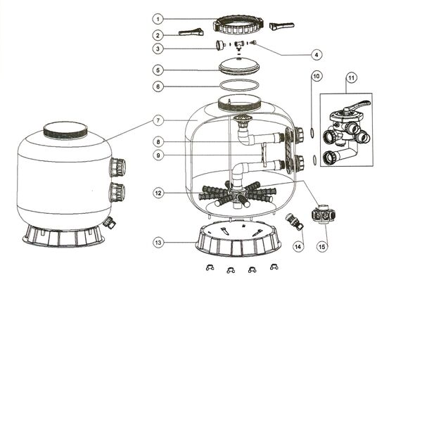 Endurance Bobbin Wound Sand Filter Parts Diagram